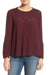 Hinge Women's Lace Inset Peasant Top Burgundy Stem