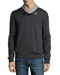 Neiman Marcus Shawl Collar Toggle Sweater Shadow