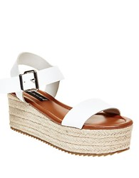 Steve Madden Sabbie Leather Espadrille Wedge Sandals White