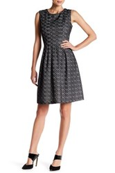 Nine West Pleated Lace Fit And Flare Dress Black