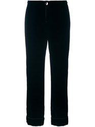 For Restless Sleepers Elastic Waistband Flared Trousers Black