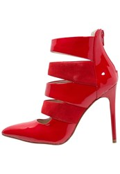 Buffalo High Heeled Ankle Boots Red