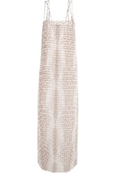 Enza Costa Pleated Printed Silk Georgette Maxi Dress Taupe
