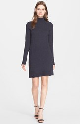 Autumn Cashmere Ribbed Funnel Neck Cashmere Dress Calvary