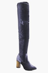Boohoo Metallic Cylinder Heel Thigh High Boot Grey