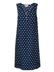East Linen Spot Print Pocket Dress Blue