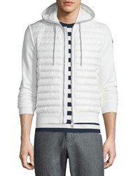 Moncler Quilted Nylon Zip Up Hoodie White Size S