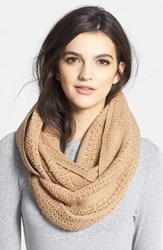 Women's Collection Xiix 'Cross Stitch' Infinity Scarf Ivory Tannin Brown