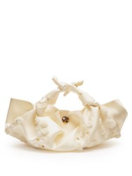 The Row Ascot Embroidered Satin Clutch Ivory