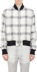 Duckie Brown Plaid Organza Bomber Jacket White Size 36