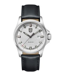 Luminox Dress Field Watch With Leather Strap Black Silver