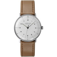 Junghans 027 3701.00 Men's Max Bill Self Winding Stainless Steel Leather Strap Watch Tan White