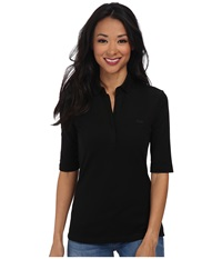 Lacoste Half Sleeve Slim Fit Stretch Pique Polo Shirt Black Women's Short Sleeve Knit