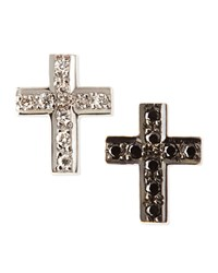 Black And White Diamond Cross Stud Earrings Kacey K Gold White Black
