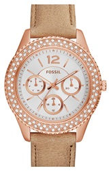 Fossil 'Stella' Crystal Bezel Leather Strap Watch 38Mm Sand Silver