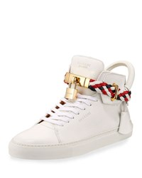 Buscemi Men's 100Mm Leather Mid Top Sneaker With Woven Strap White