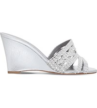 Gina Syracuse Leather Wedge Sandals Silver