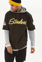 Forever 21 Nfl Steelers Hooded Shirt Black Yellow