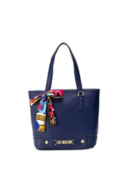 Love Moschino Scarf Detail Shopper Tote Blue