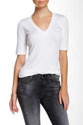 Heather By Bordeaux V Neck Ribbed Tee White
