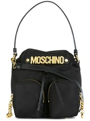 Moschino Logo Plaque Backpack Tote Black