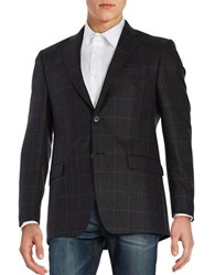 Lauren Silver Wool Two Button Plaid Jacket Charcoal