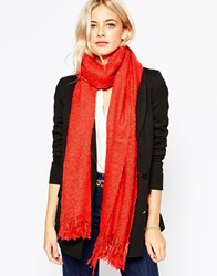 Oasis Fringed Boucle Scarf Red