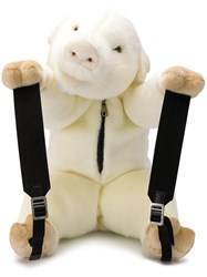 Dolce And Gabbana Faux Fur Bear Backpack White