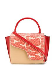 Atp Atelier Arezzo Snake Panelled Tote Orange