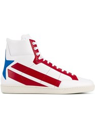 Saint Laurent Star Leather Hi Top Sneakers White