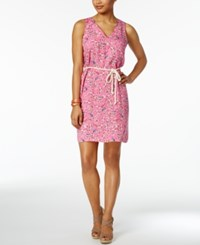 G.H. Bass And Co. Cotton Belted Sheath Dress Passion Pink