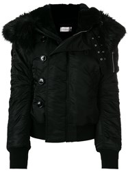 Faith Connexion Faux Fur Hooded Jacket Cotton Acrylic Polyamide Wool Black