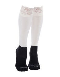 Bootights Lace Knee Hi With Attached Performance Sock Cream