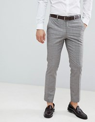 Burton Menswear Wedding Suit Trousers In Red Check Grey