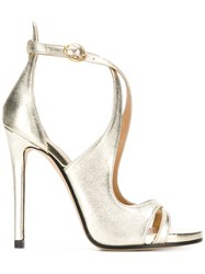 Marc Ellis Metallic Cross Strap Sandals