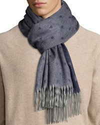 Begg And Co Graduated Spot Cashmere Scarf W Fringe Navy
