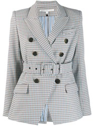 Veronica Beard Checked Double Breasted Blazer White