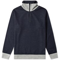 Beams Plus Half Zip Sweat Blue