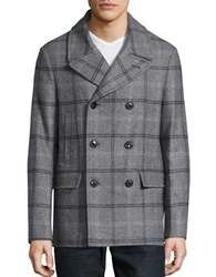 Michael Kors Wool Blend Plaid Peacoat Charcoal
