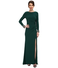 Eliza J Long Beaded Sleeve Ity Gown With Ruching Emerald Women's Dress Green