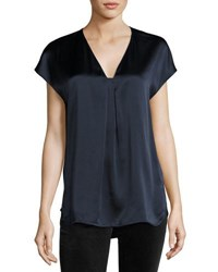 Vince Short Sleeve Popover Silk Top Navy