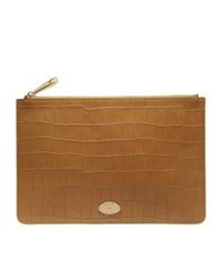 Mulberry Medium Heritage Croc Pouch Camel