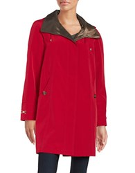 Gallery Trench Coat With Removable Hood Red