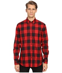 Dsquared Relax Dan Check Cotton Shirt Black Red