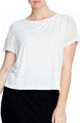 Elvi Plus Size Women's Sequin Sleeve Tee