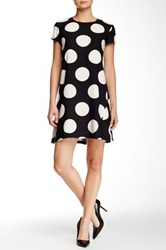 Donna Morgan Short Sleeve Dot Crepe Trapeze Dress Black
