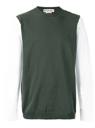 Marni Sweater With Shirt Sleeves Green