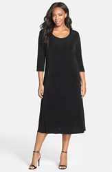Plus Size Women's Vikki Vi Three Quarter Sleeve Stretch Knit A Line Dress