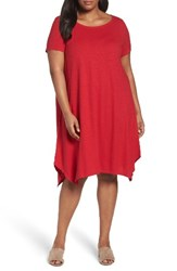 Eileen Fisher Plus Size Women's Hemp And Organic Cotton Handkerchief Dress Red