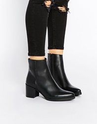 Warehouse Pointed Toe Heeled Ankle Boots Black